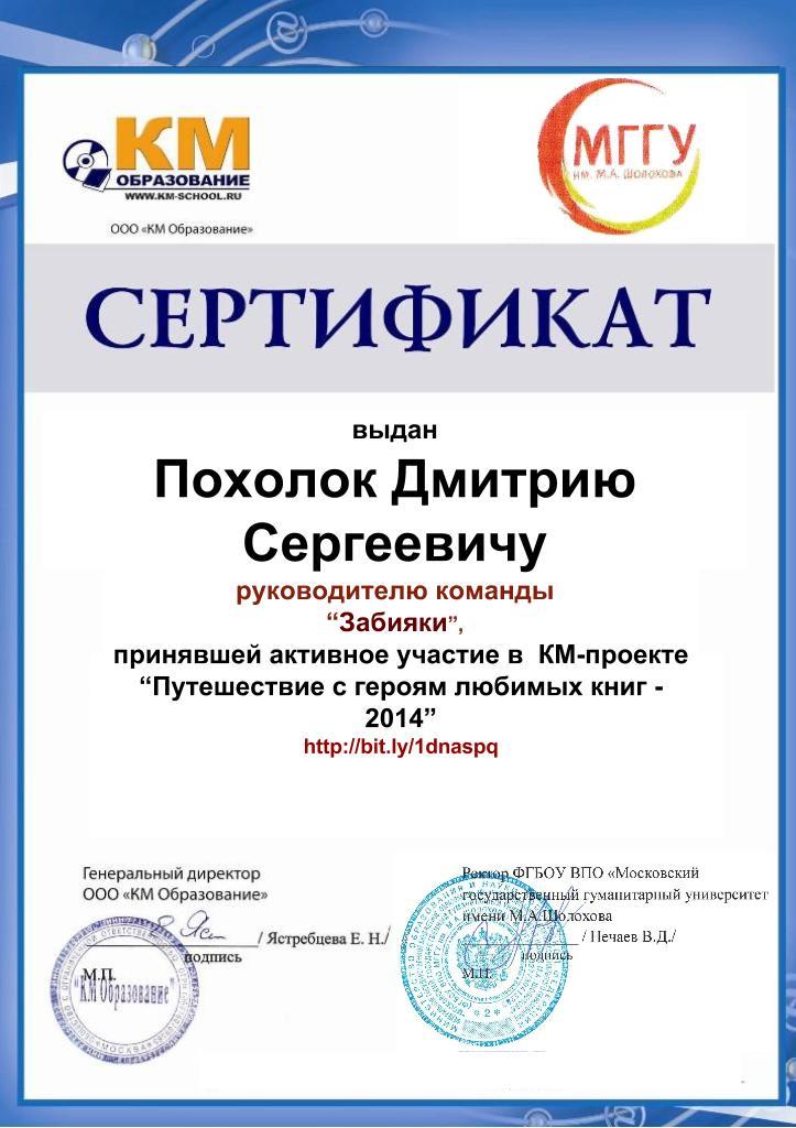Сертификат руководителя команды